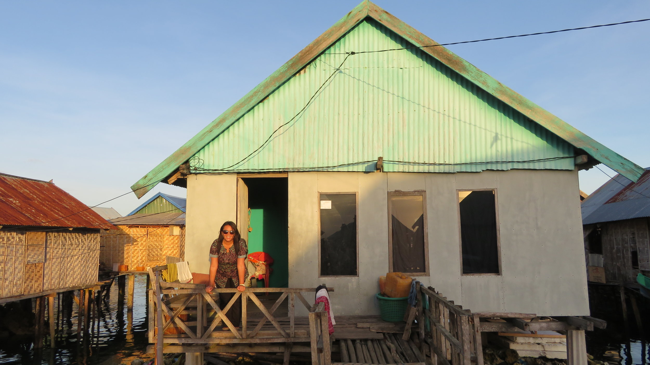 The sunsetting on a house in the infamous Bajo Mola Village in Wakatobi National Park, Southeast Sulawesi, Indonesia