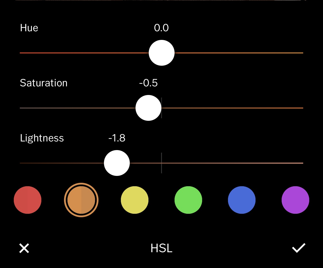 custom coloring - Change the hue + saturation of each color with HSL tab >