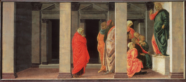 Sandro Botticelli,  Saint Mary Magdelene Listening to Christ Preach ,c. 1494, tempera on panel. Collection of Philadelphia Museum of Art, Philadelphia