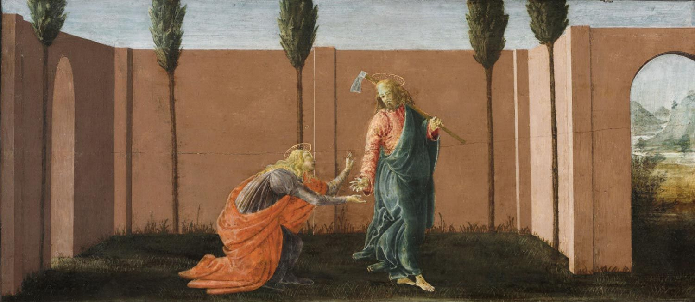 Sandro Botticelli,  Noli me tangere ,c. 1494, tempera on panel. Collection of Philadelphia Museum of Art, Philadelphia
