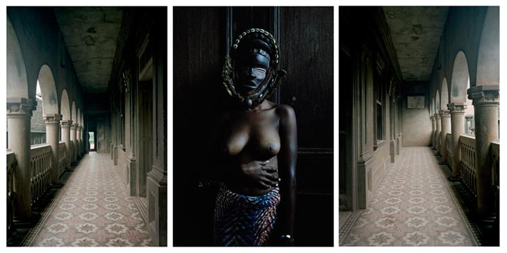 Leonce Raphael Agbodjélou 'Untitled Triptych (Demoiselles de Porto-Novo Series)', 2012, C-print, 180 x 130 each
