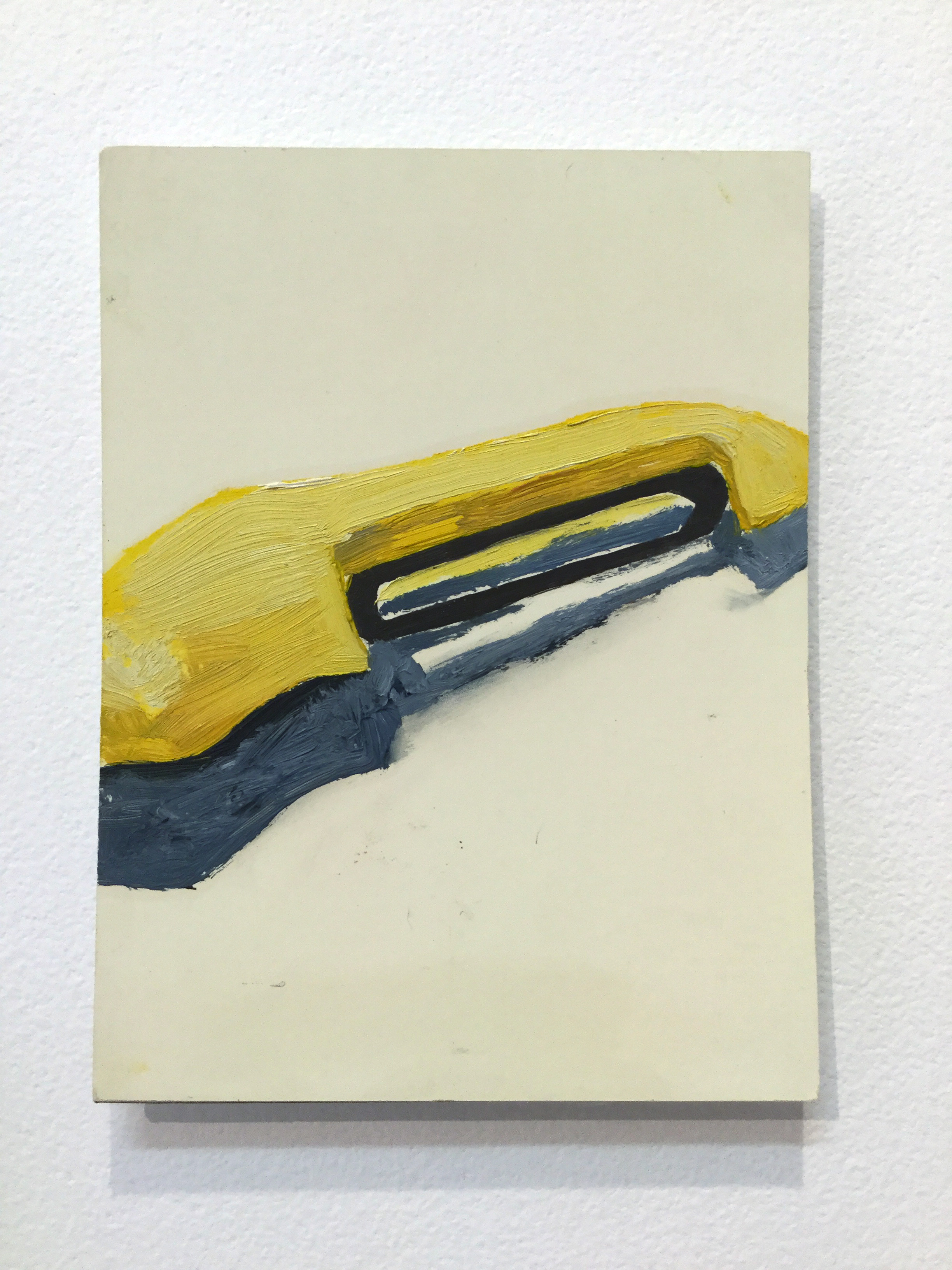 Pictured from the show: Julia Flanagan,  Yellow peeler,  2007, oil on paint sample card, 12 x 9cm