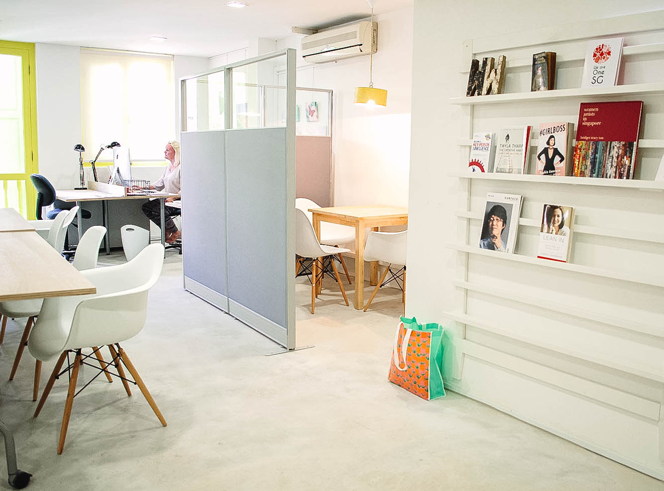 Pastel Colour Bright White Coworking Office Design