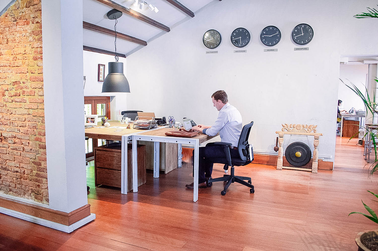 Cool Stylish Renovated Office Design Exposed Brick