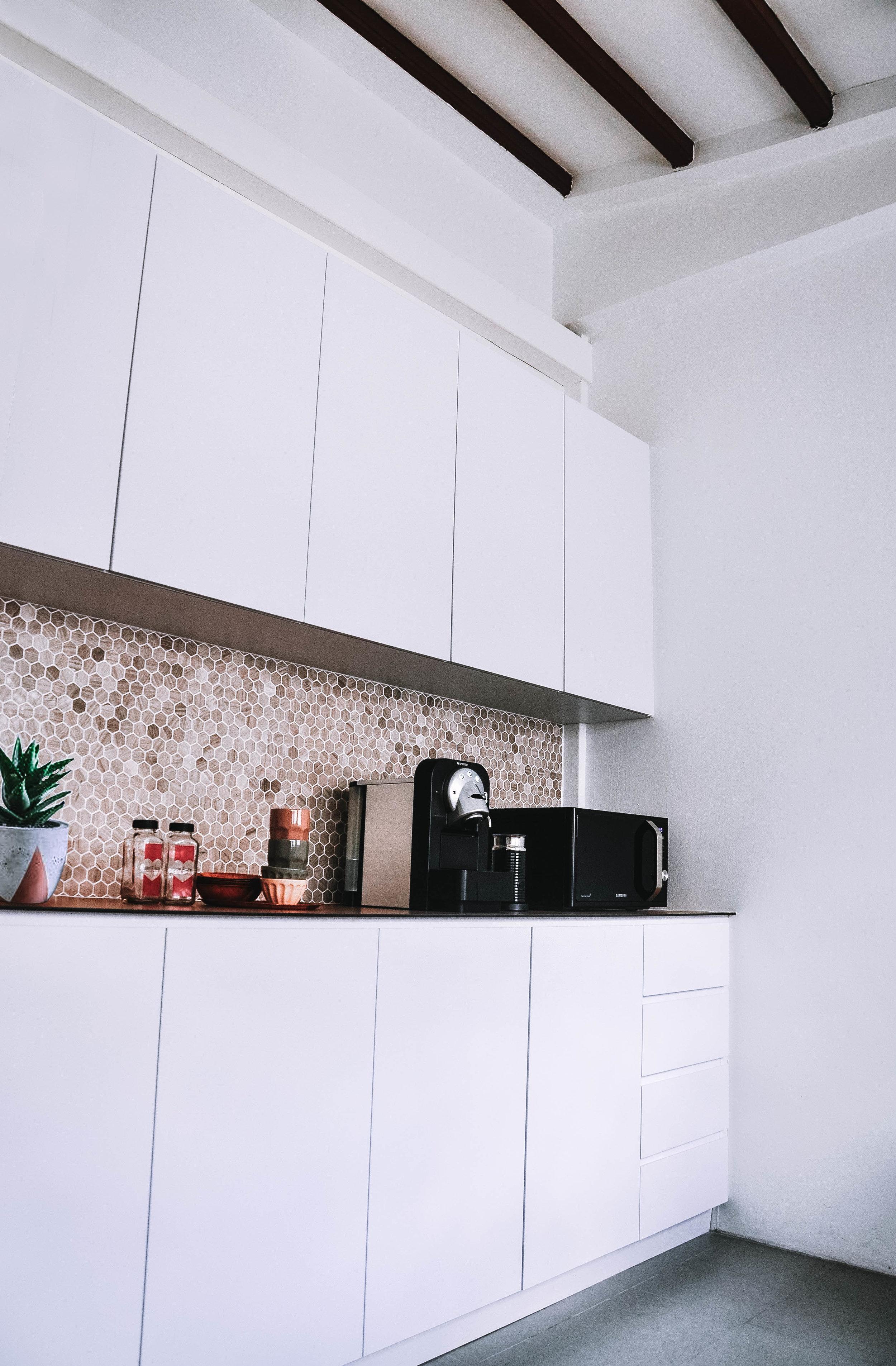Stylish Office Pantry Kitchen Design Tiles