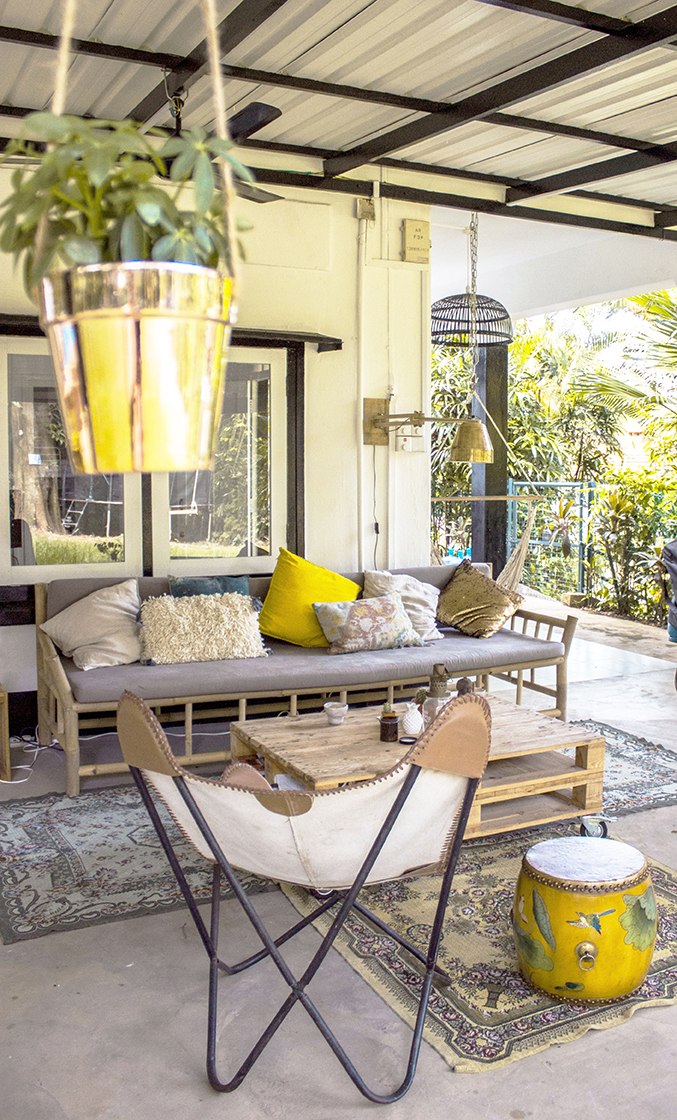 Bright Tropical Hanging Plants Outdoor Dining