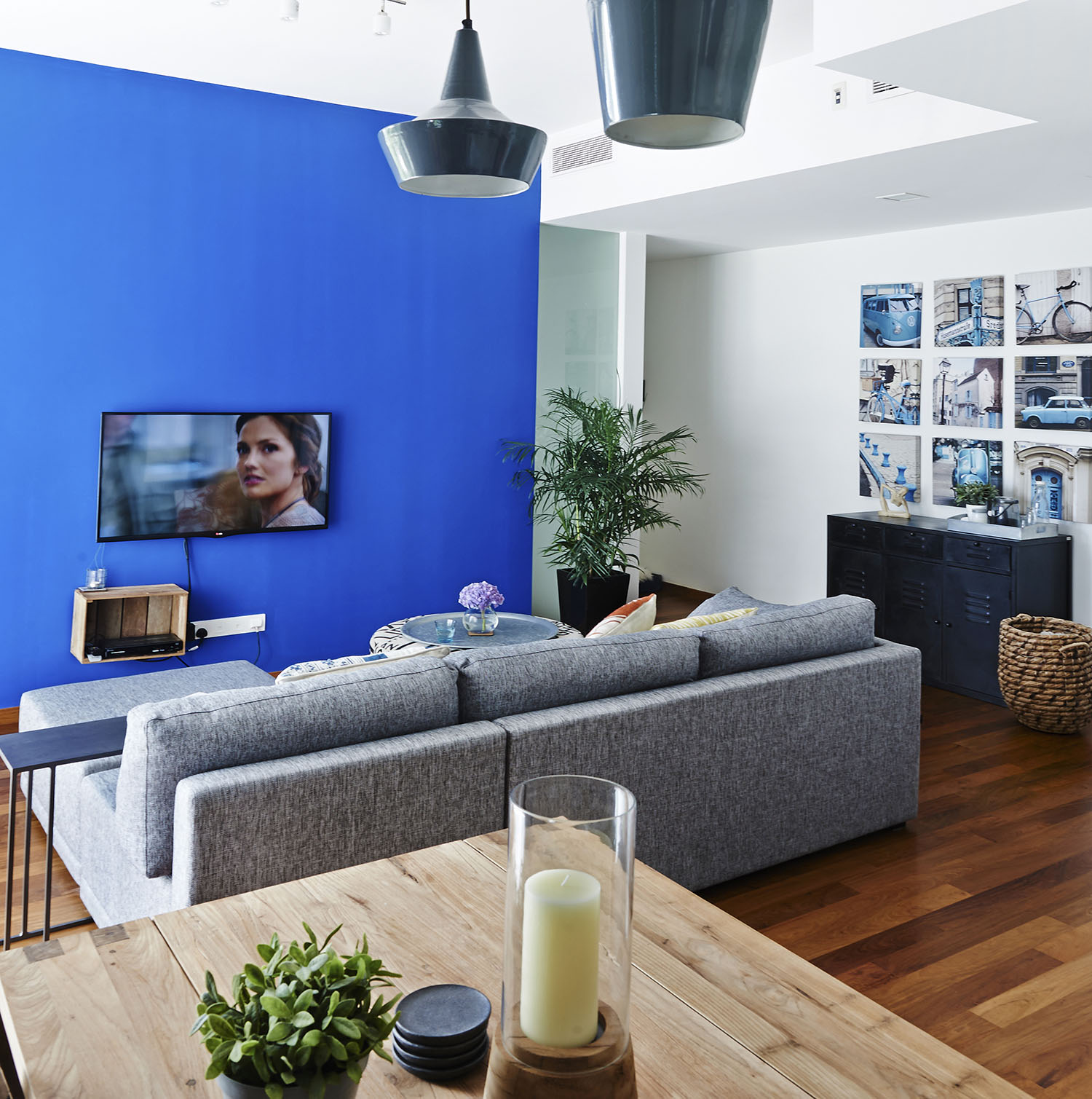 Bright Blue feature Wall Living Room
