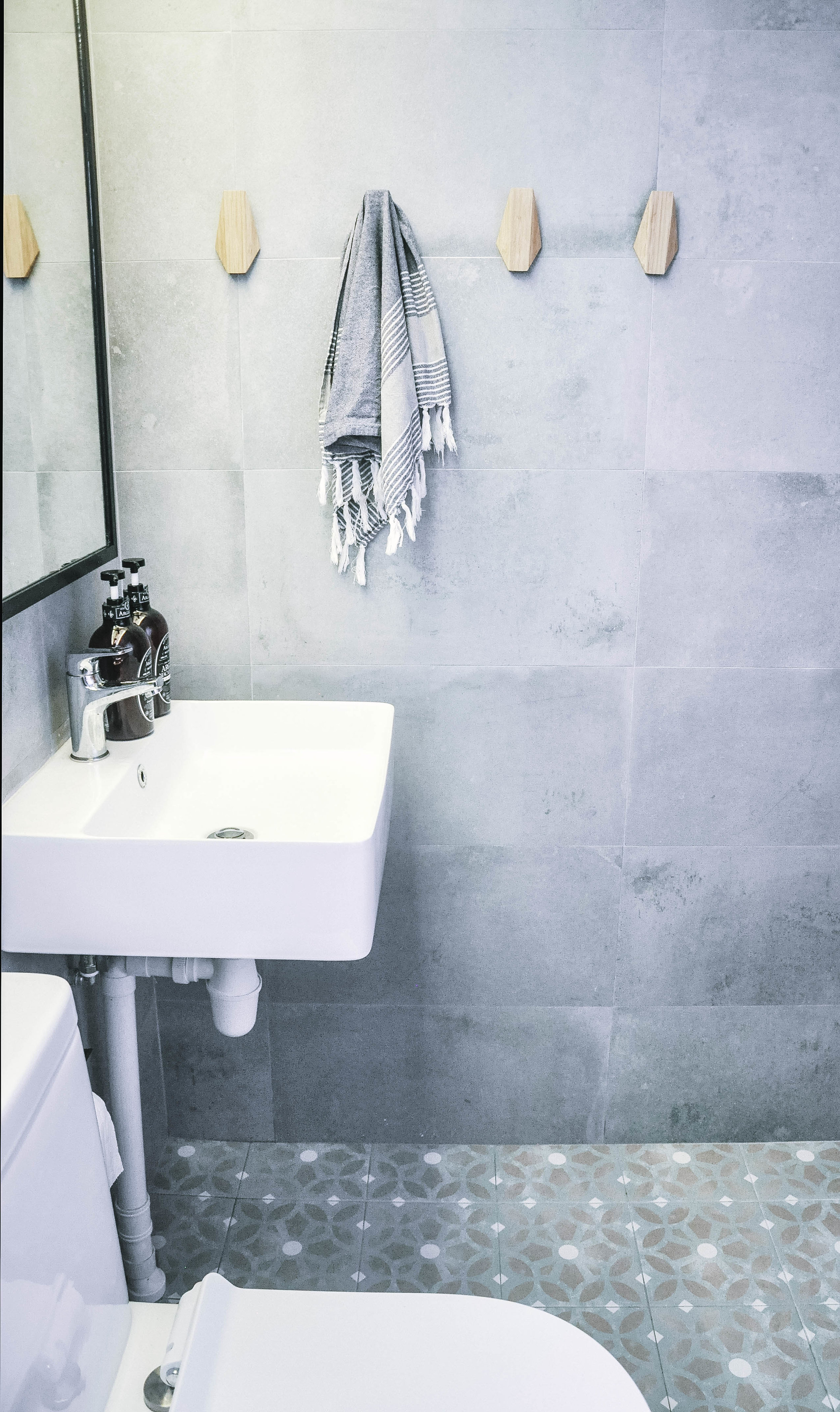 Cool Grey Tile Shower Wall