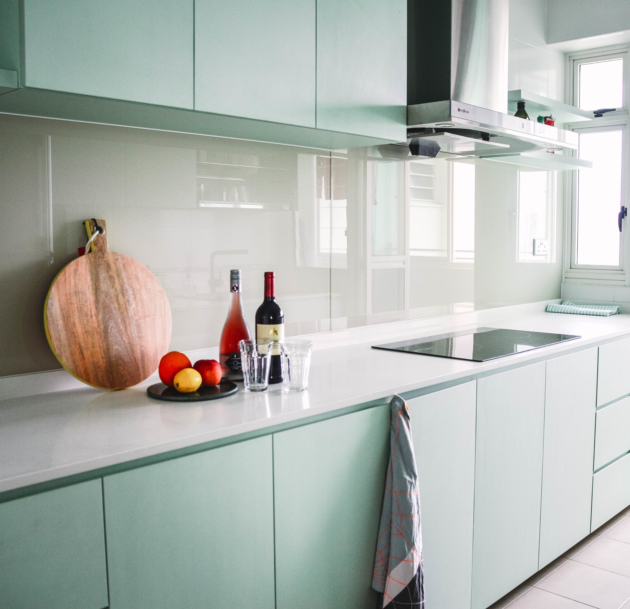 Beautiful Pastel Kitchen Teal Green Cupboards