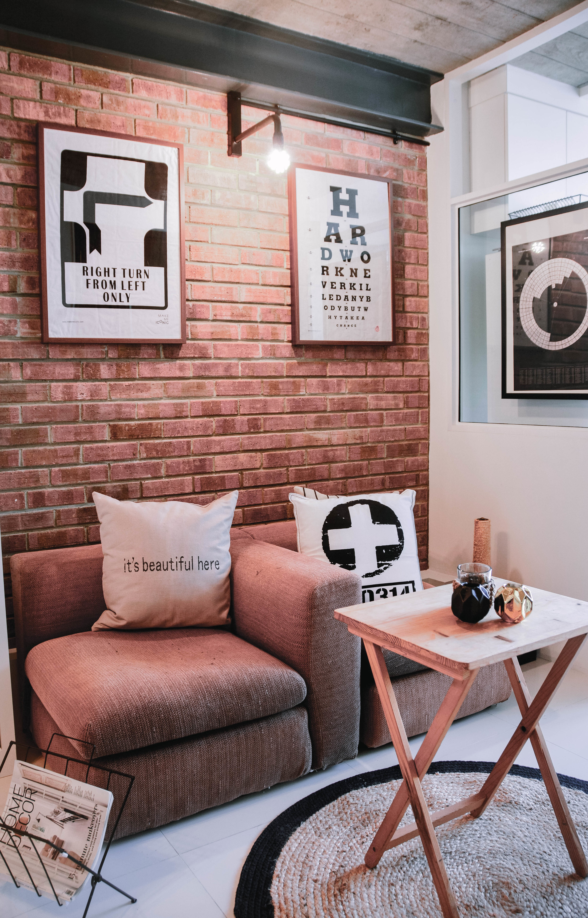 Stylish Cool Urban Exposed Brick Living Room
