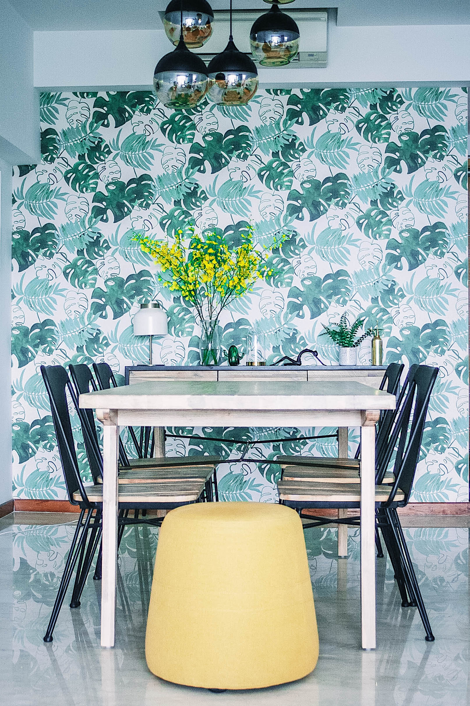 Cool Wallpaper Design Dining Room Leafy