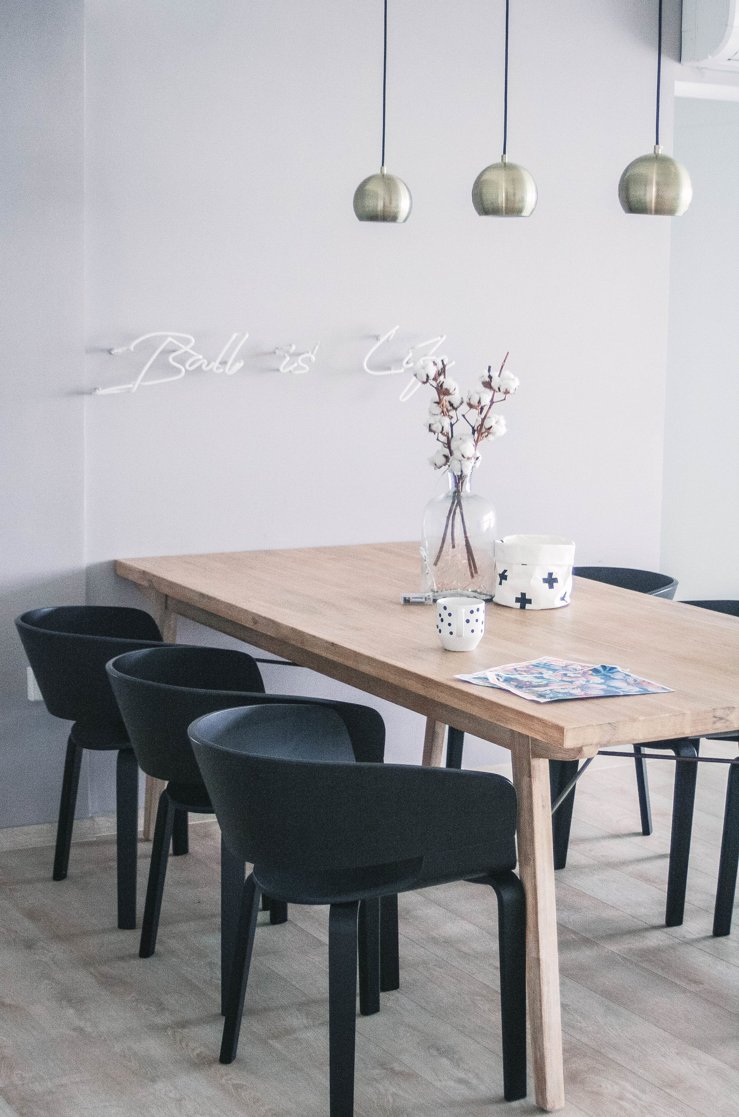 Gold Hanging Lights Wooden Dining Table