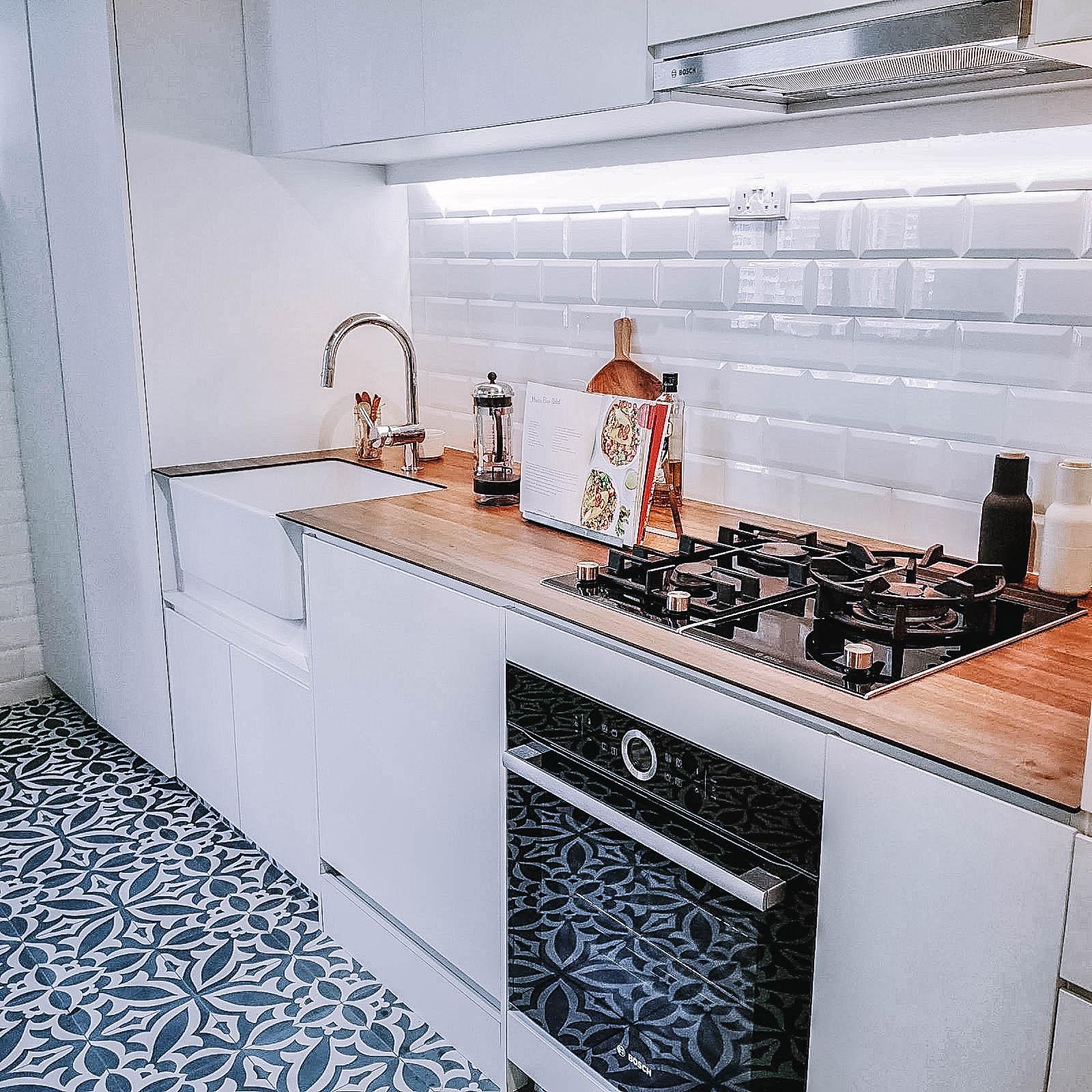 Kitchen Floor Tiles Interior Design Renovation Wooden Countertop