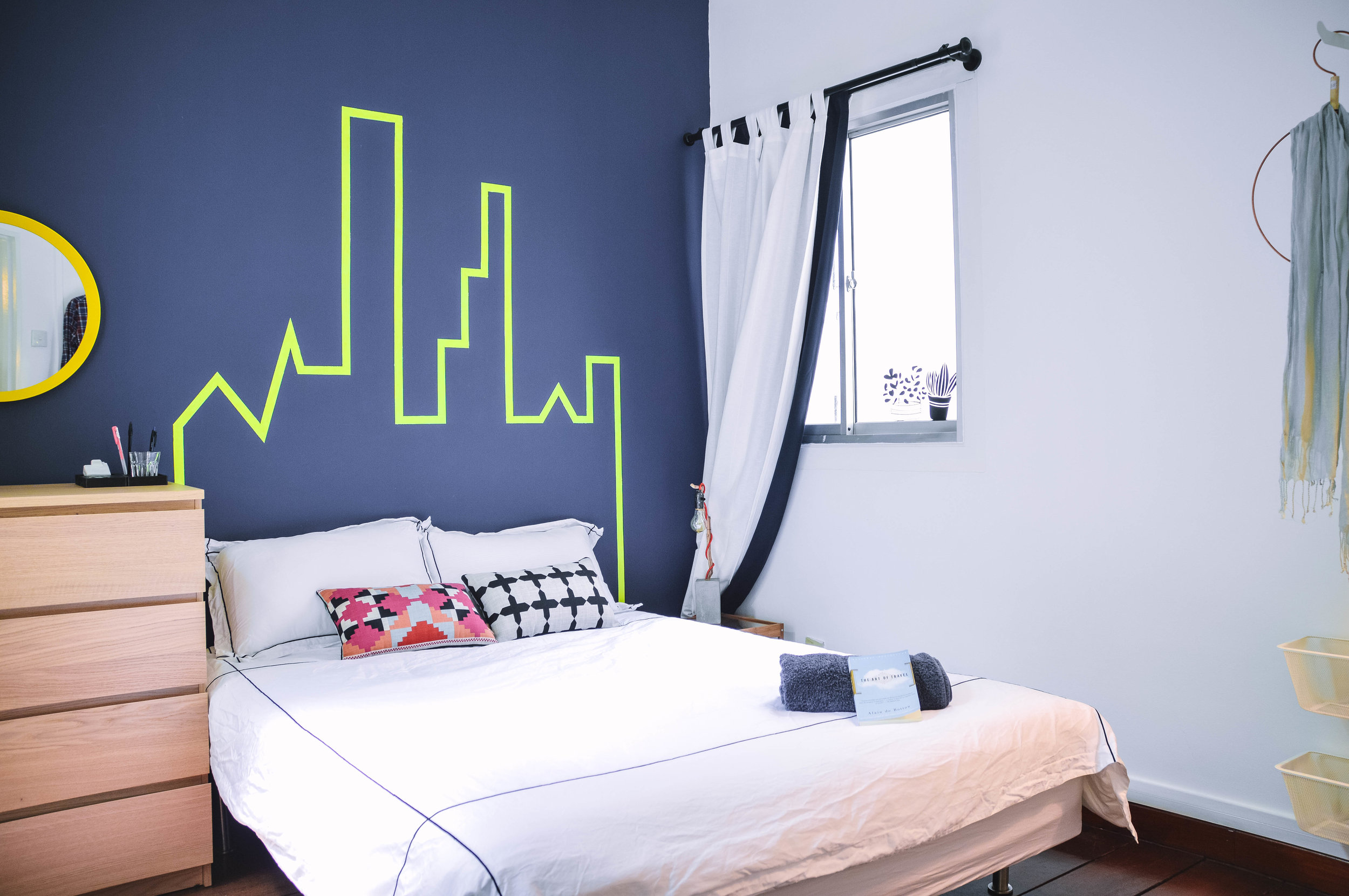 Funky Bright Bedroom Feature Wall Graphic