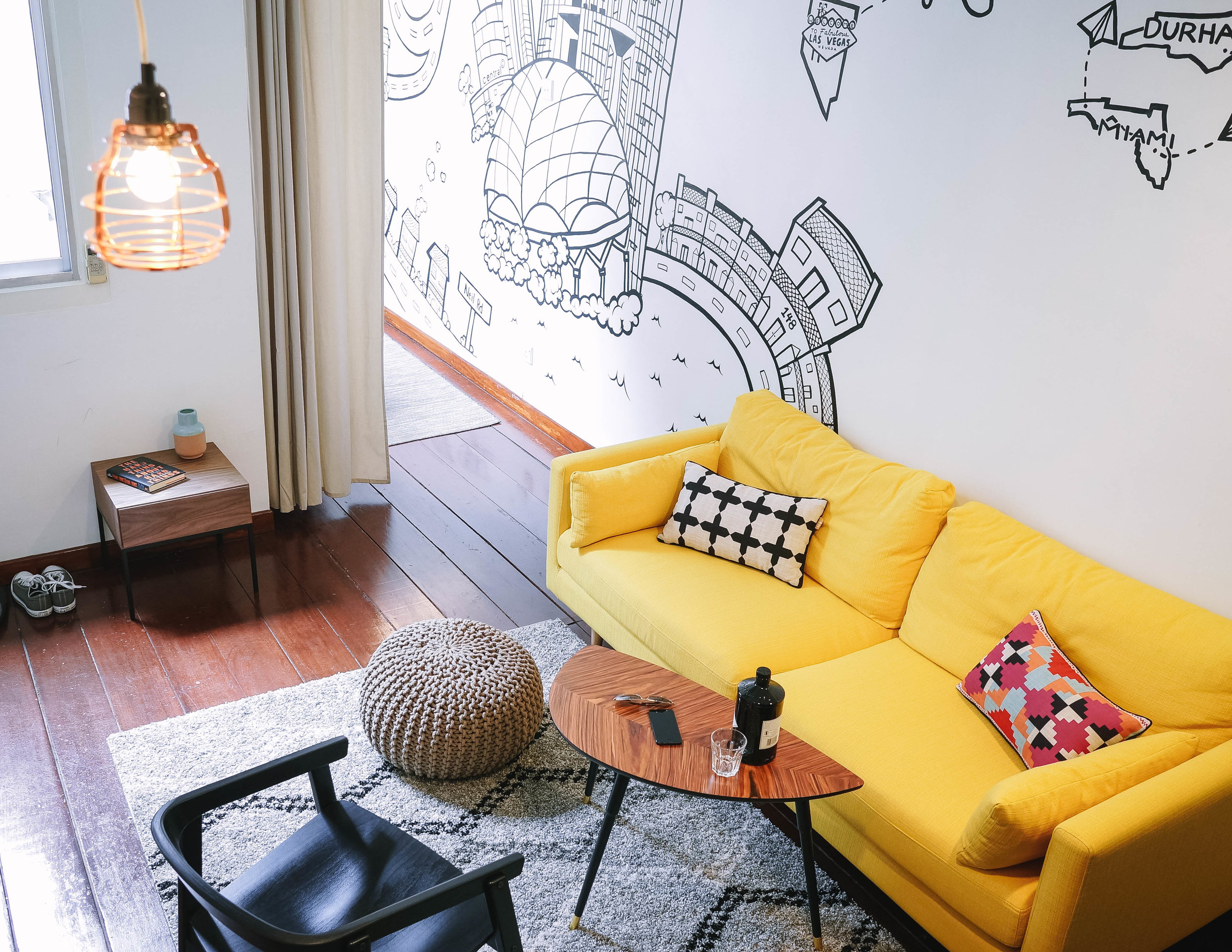 Funky Bright Shophouse Living Room Interior Design