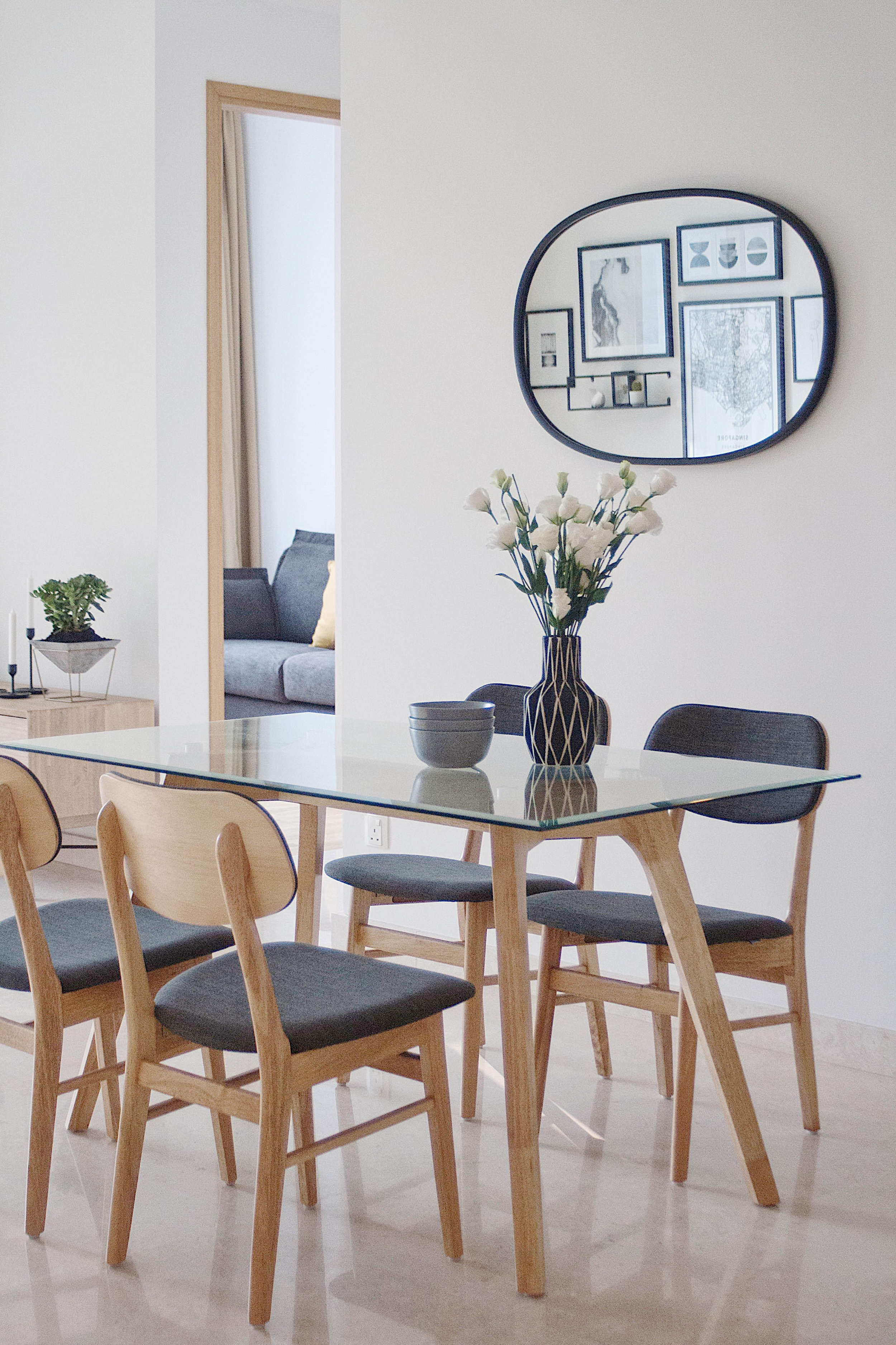 Glass Dining Table Funky Mirror