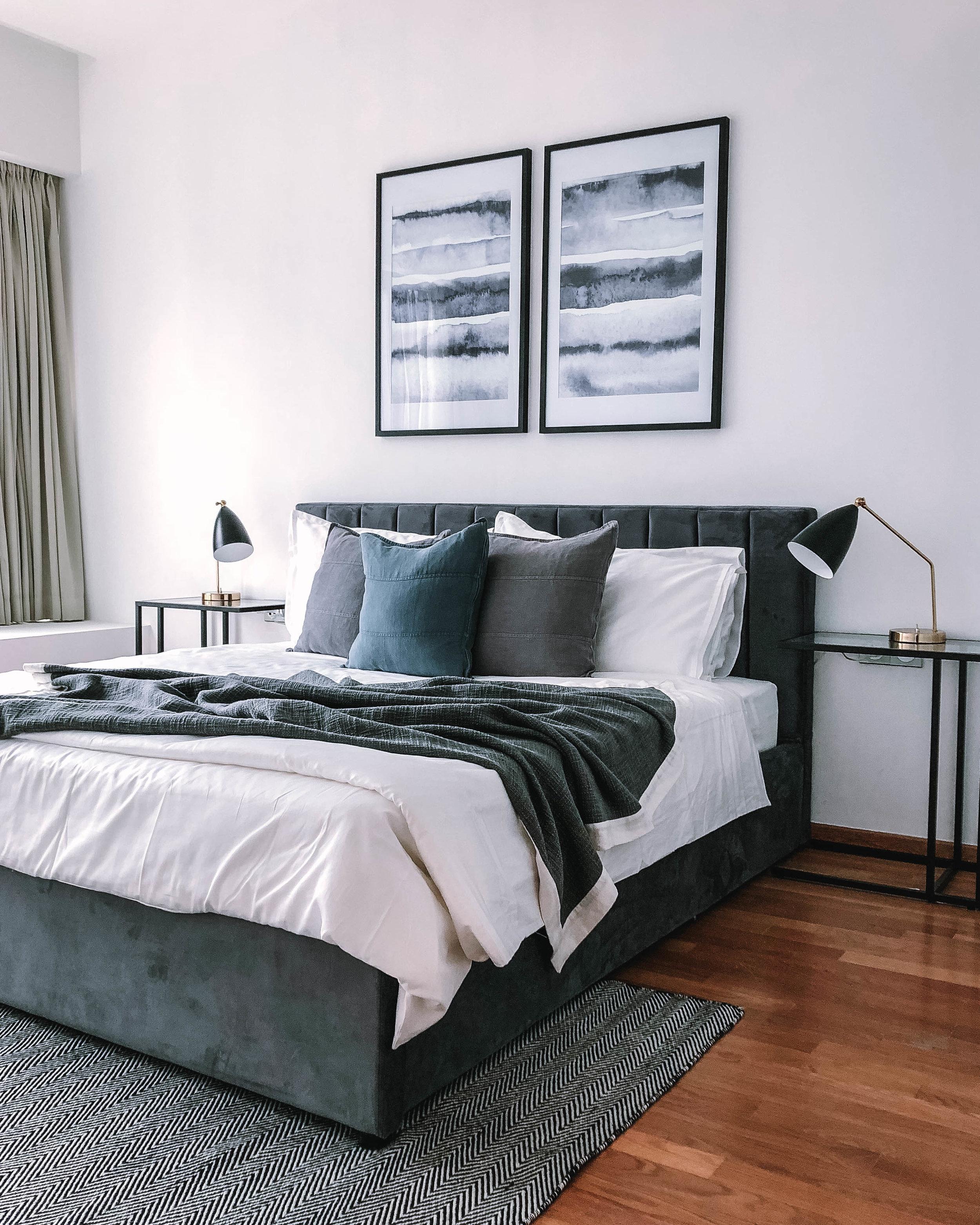 Grey Blue Bedroom Styling