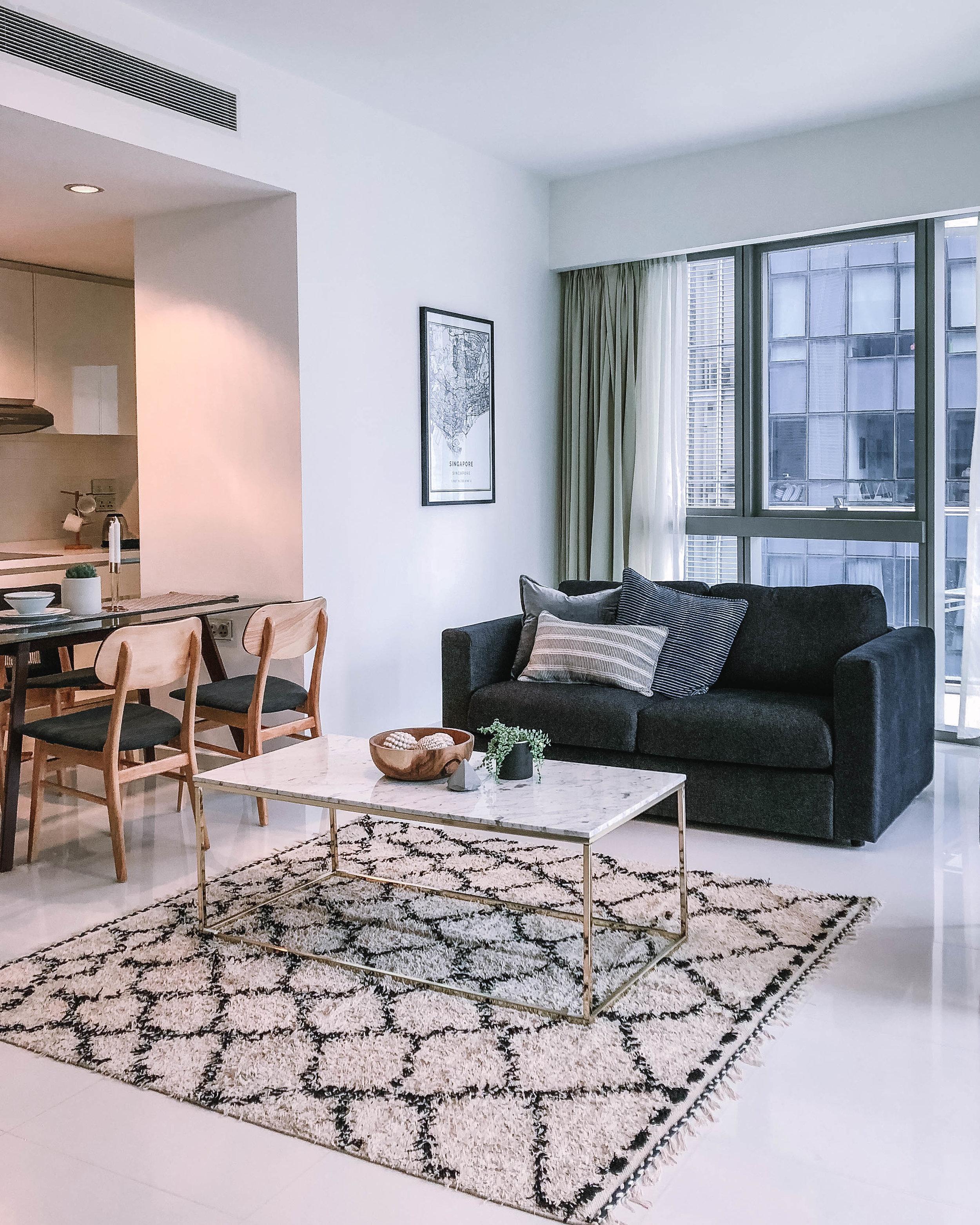 Modern Moroccan Inspired Rug Living Room
