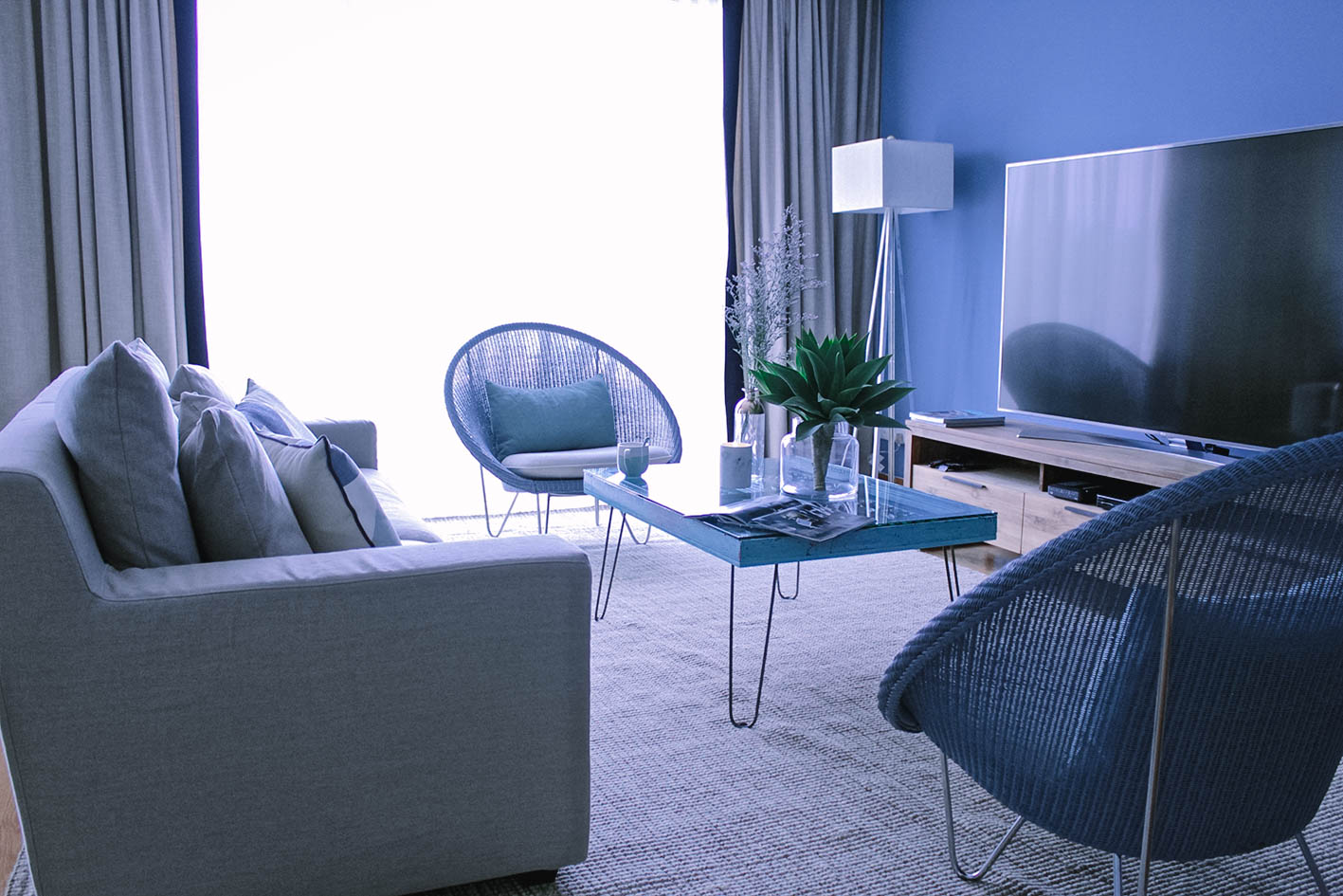 Cool Pop of Colour Living Room