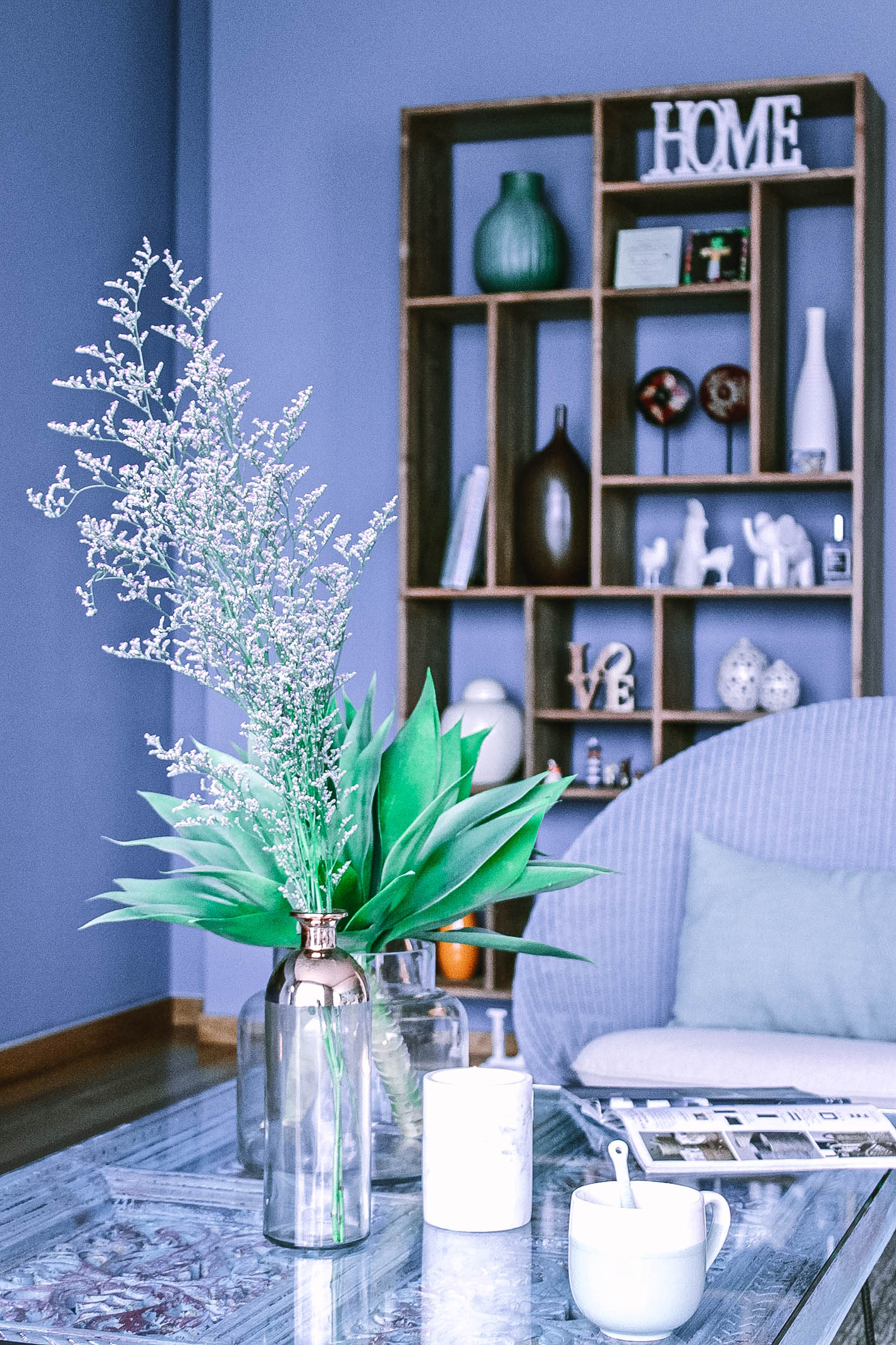 Blue Feature Wall Apartment Living