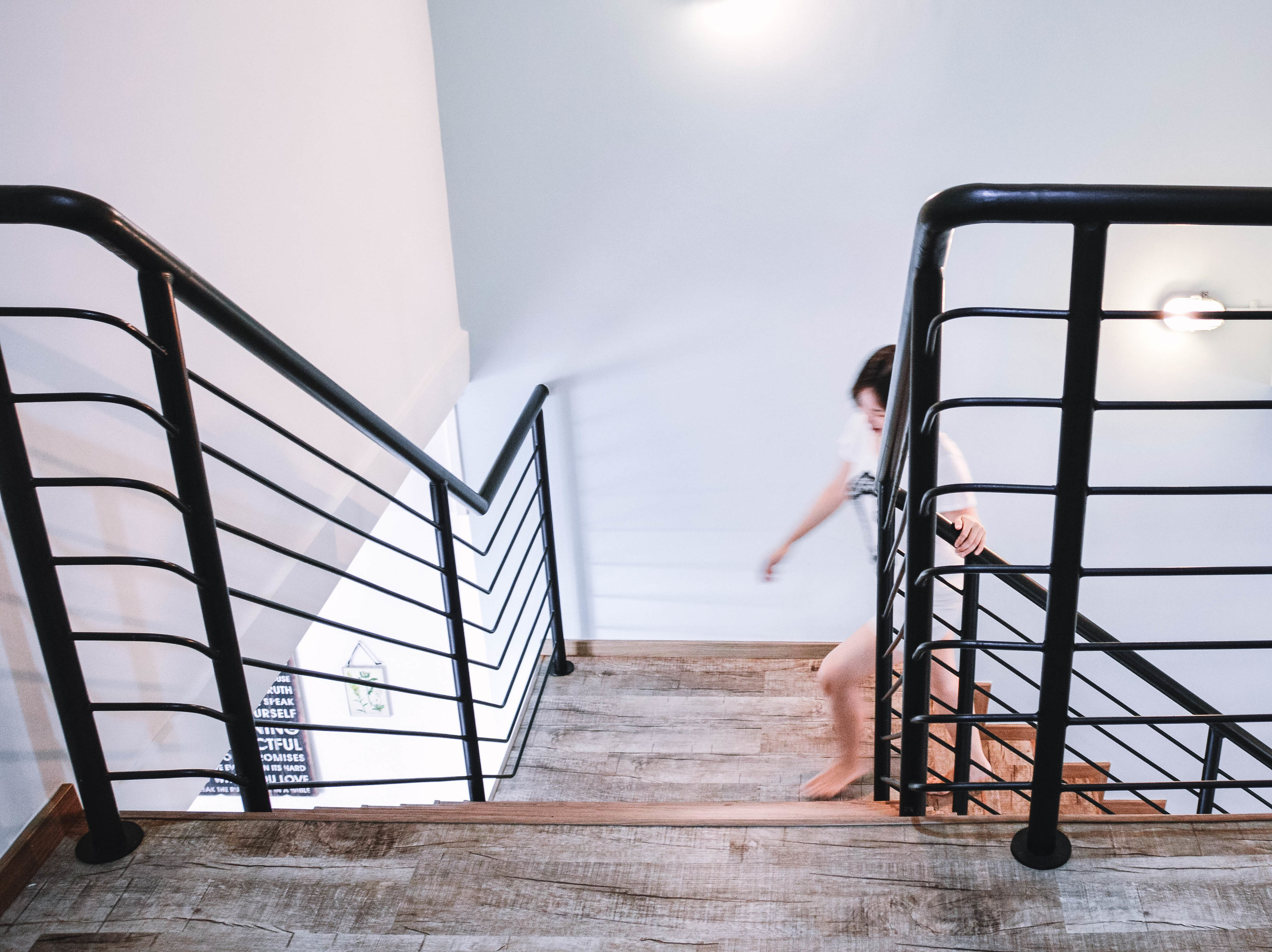 Stairs Black Railing Bright Interior Design