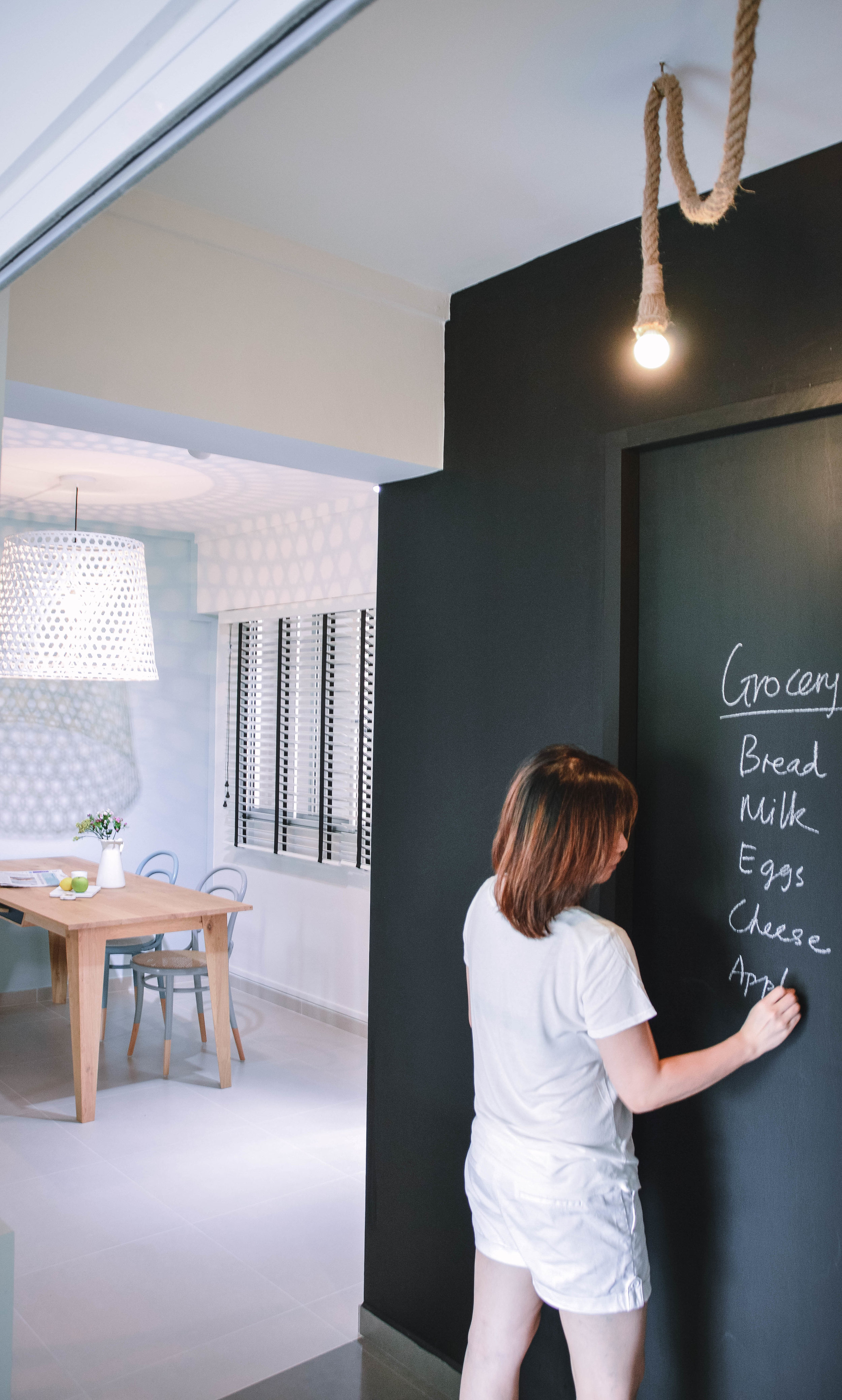 Black Chalkboard Feature Wall Kitchen