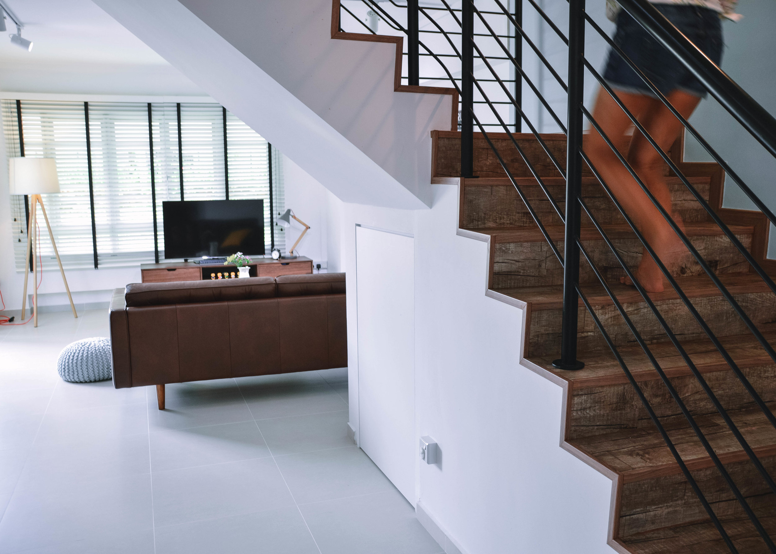 Stairs Living Room Apartment Design