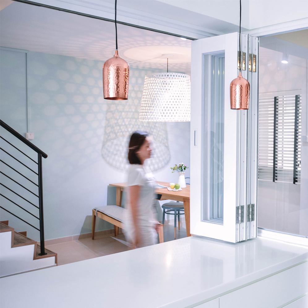 Hanging Brass Light Pendants in Minimal Kitchen