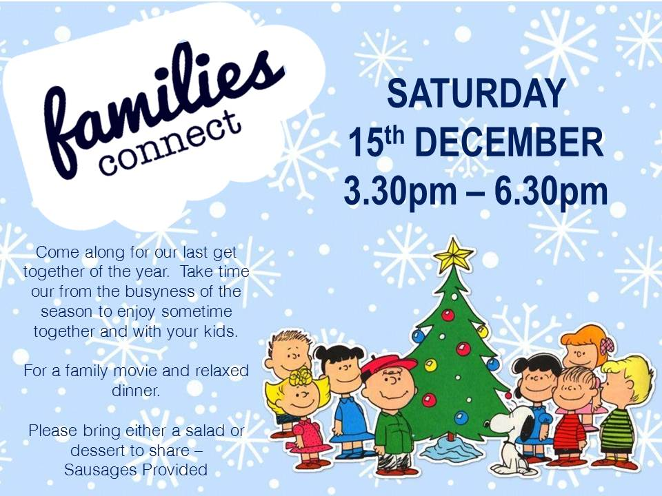 Come along for a fun afternoon with your family. We'll be watching a family friendly Christmas movie and sharing a meal. Bring a salad or a dessert and we will provide the rest