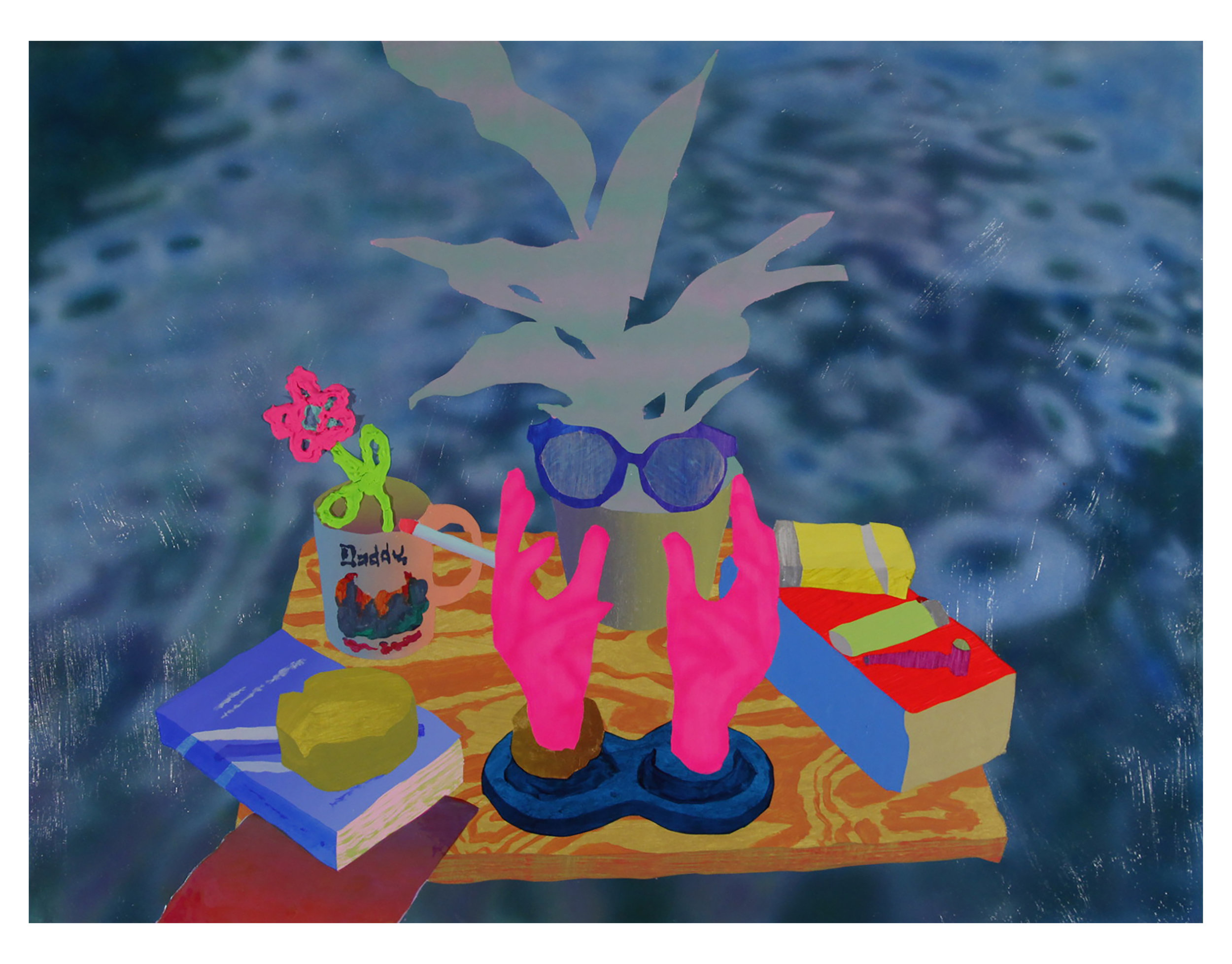 BOBBY HAULOTTE    Still Life on Water , 2018  Acrylic and dichroic film on Wood  24 x 18 inches
