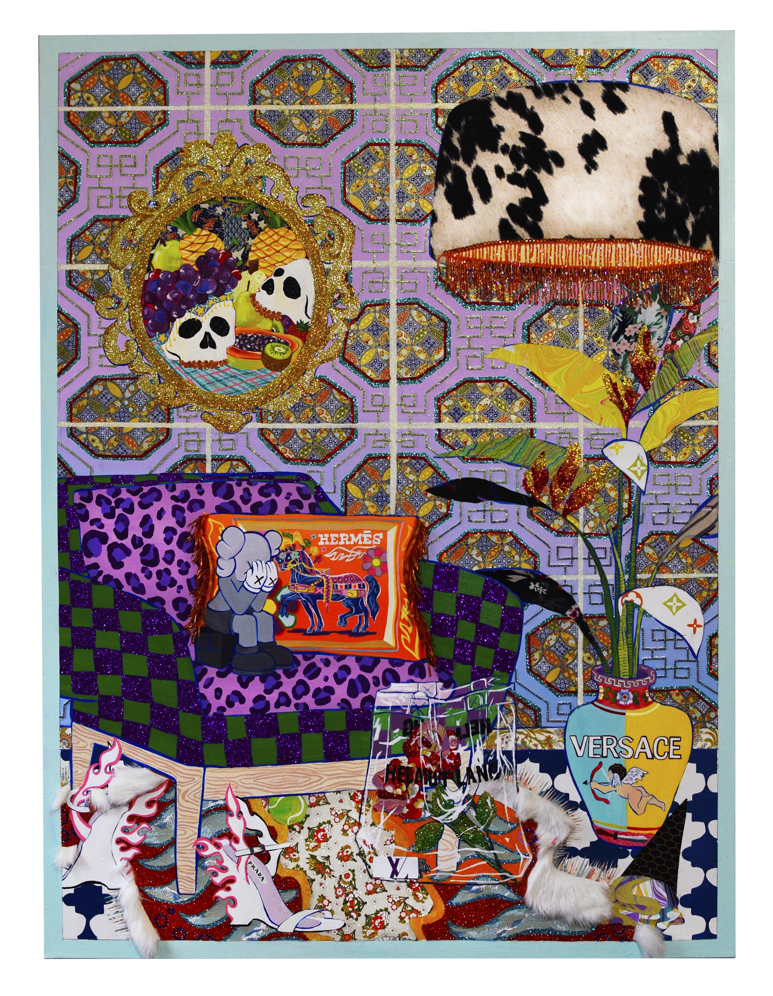 RACHAEL TARRAVECHIA    Airmez , 2018  Acrylic, glitter, rhinestones, paper, and rabbit fur on canvas  48 x 36 inches