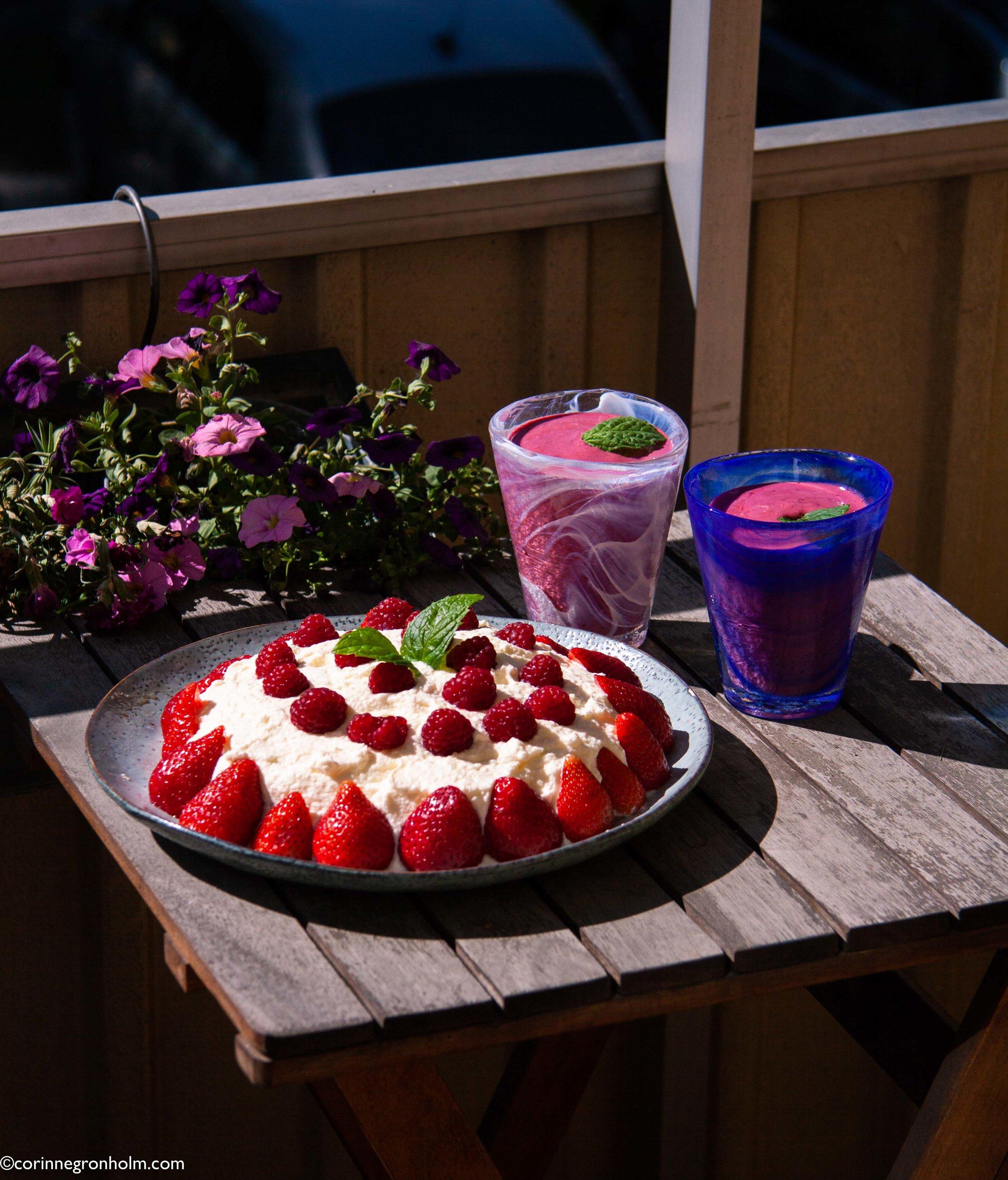Nyttig tårta med hallon