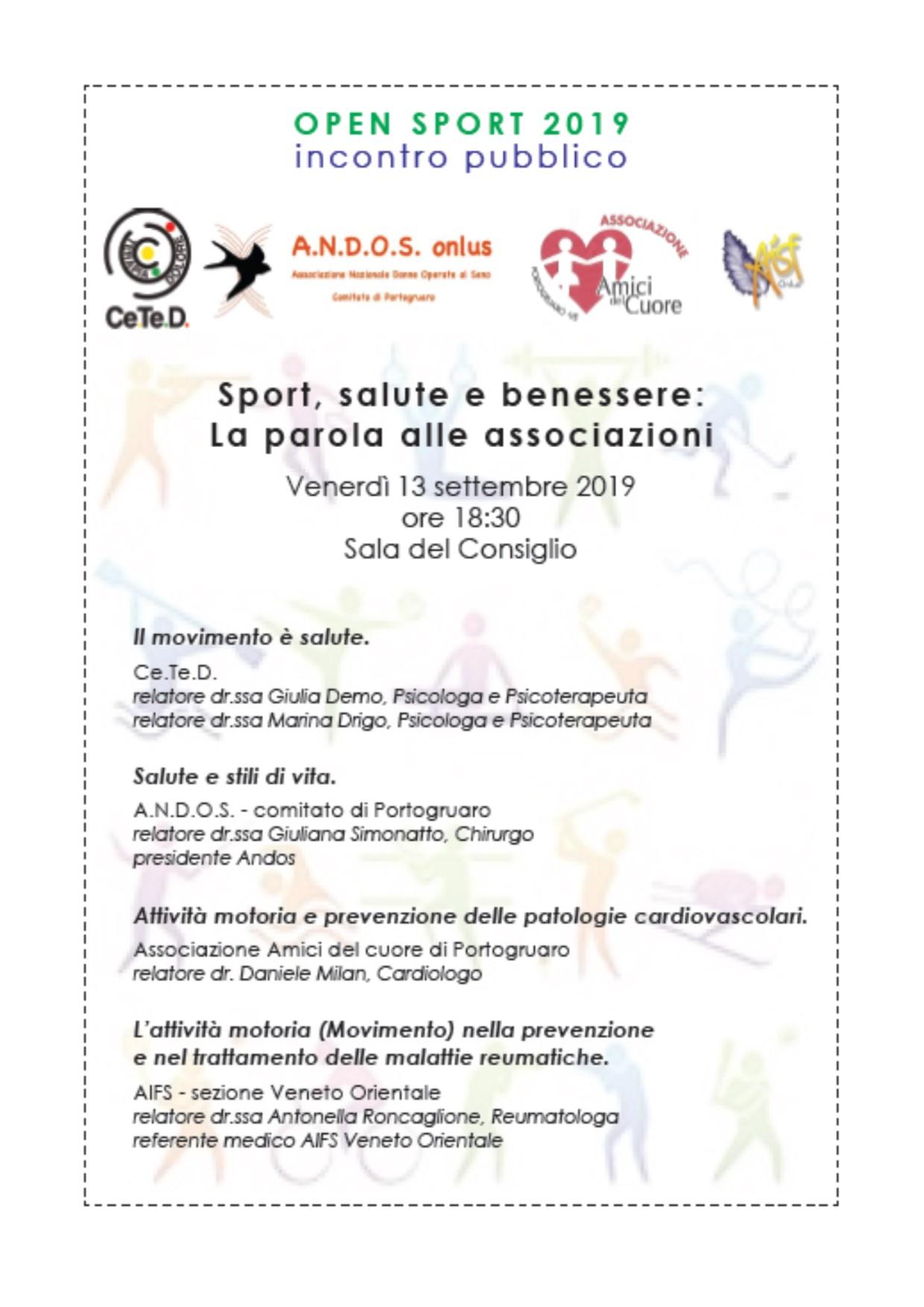 Sport, salute e benessere. - Incontro con le associazioni sull'importanza del movimento e dell'attività fisica come aiuto per la prevenzione di alcune patologie.