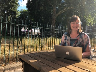 Ruth proving Charterhouse benches are as good a place as any to work
