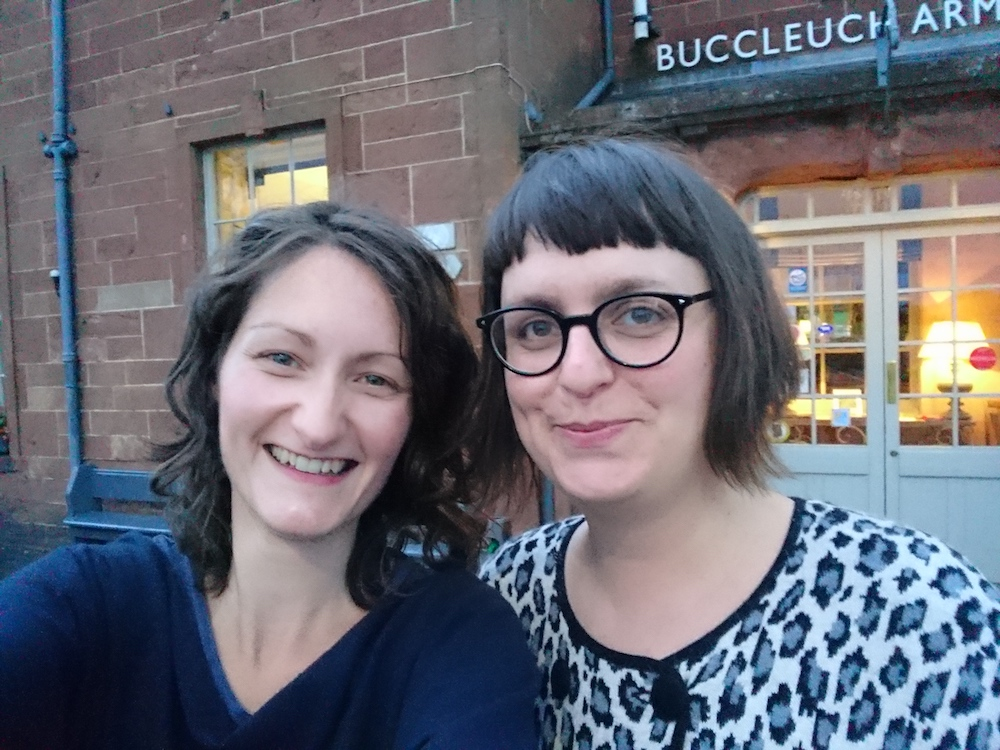 Sus (right) and me outside the Bucchleugh Arms in the Scottish borders.