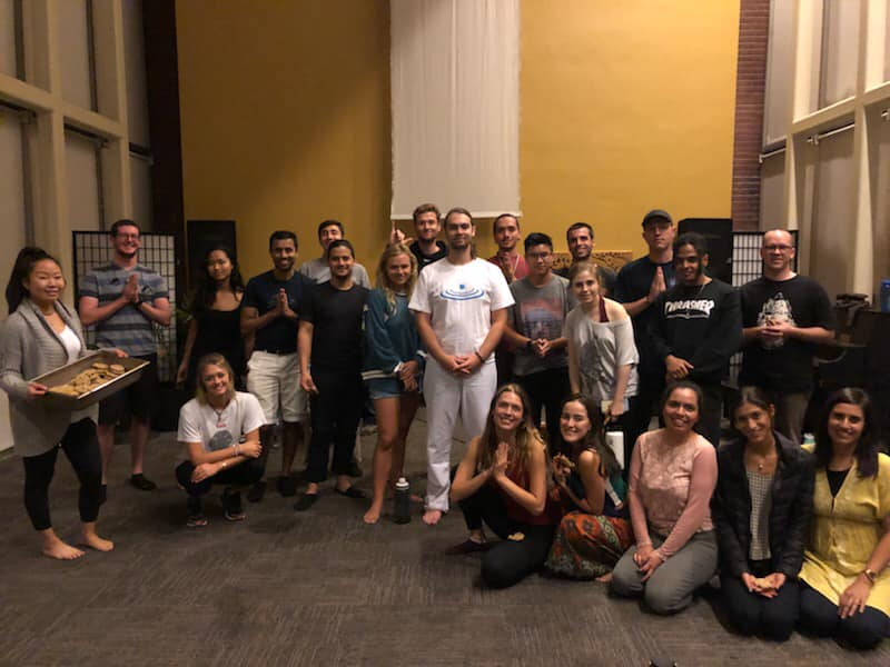 Forrest with the meditation club at the University of Southern California after a lecture he gave. Photo: Forrest Neal