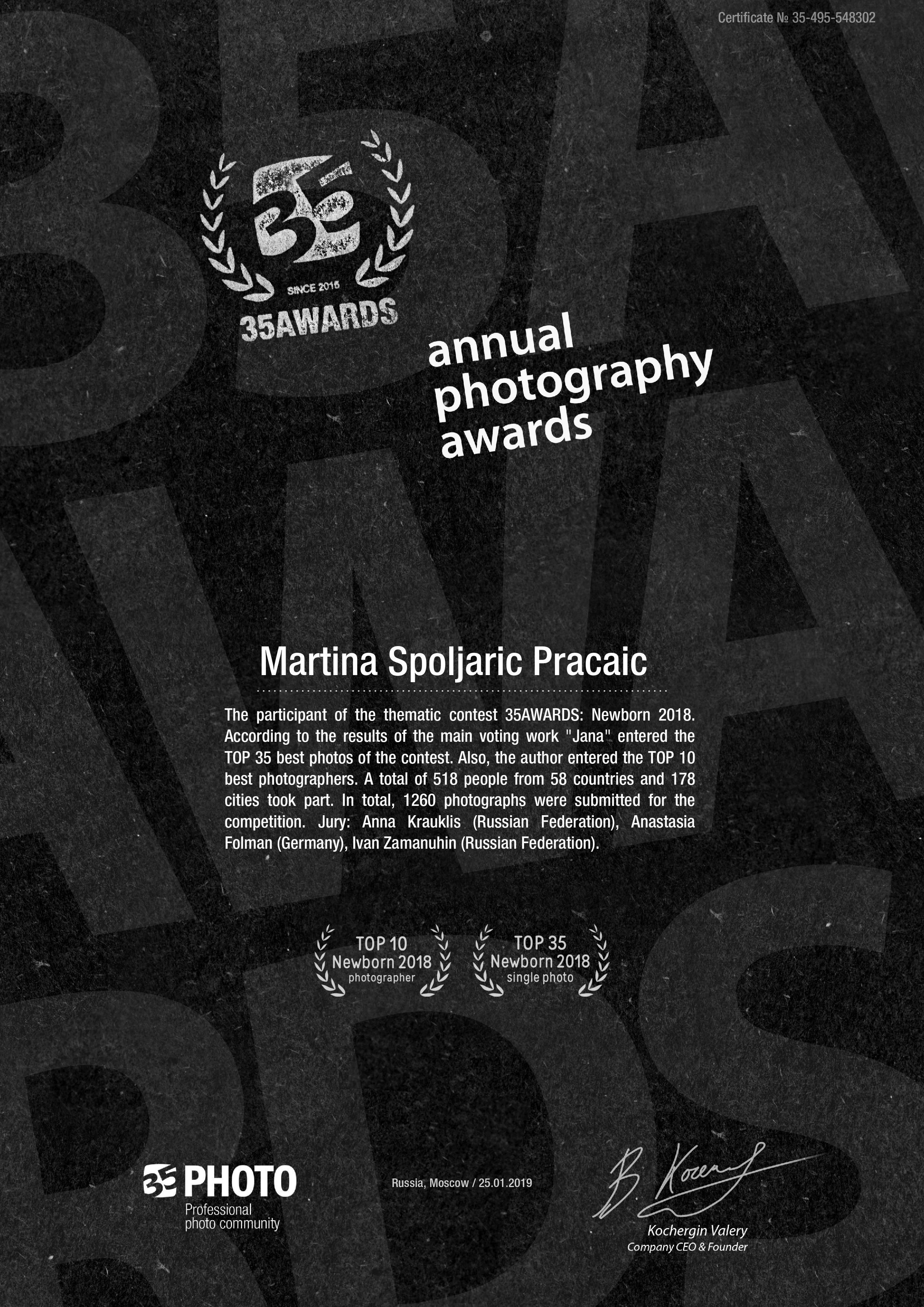 INTERNATIONAL AWARD WINNING PHOTOGRAPHER 2018.