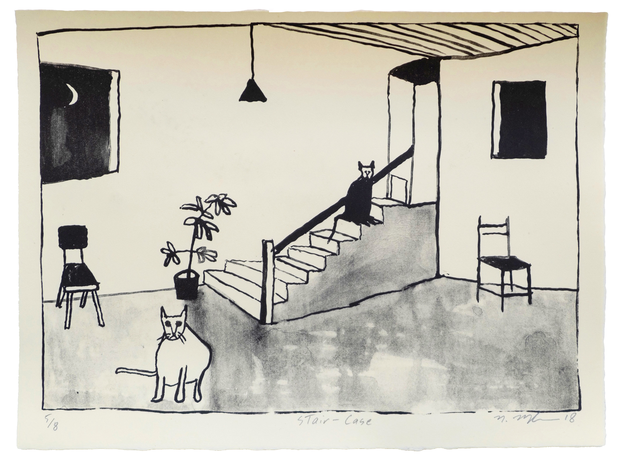 Noel McKenna   Stair-Case   Lithograph on Zerkall Wove Cream  Edition of 8, 2018