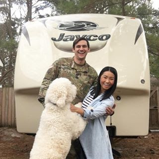 Ray and Thuy Ellison - Ray and Thuy Ellison are preparing to fulltime RV in their 2016 Jayco Eagle with their goldendoodle, Rainer.  Their love for travel brought them together, so when the opportunity to work and travel arose, they couldn't refuse. They enjoyed their renovation and are excited to set off in their new home in June 2018. You can also follow their adventures on Instagram at @mrs_elliluu.