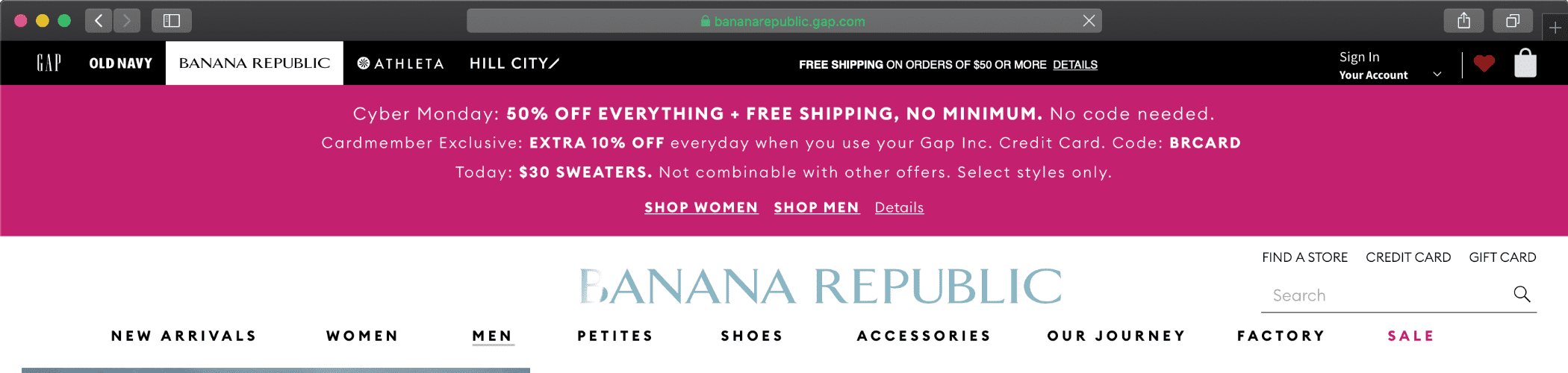 CLICK IMAGE TO BROWSE BANANA REPUBLIC CYBER MONDAY DEALS