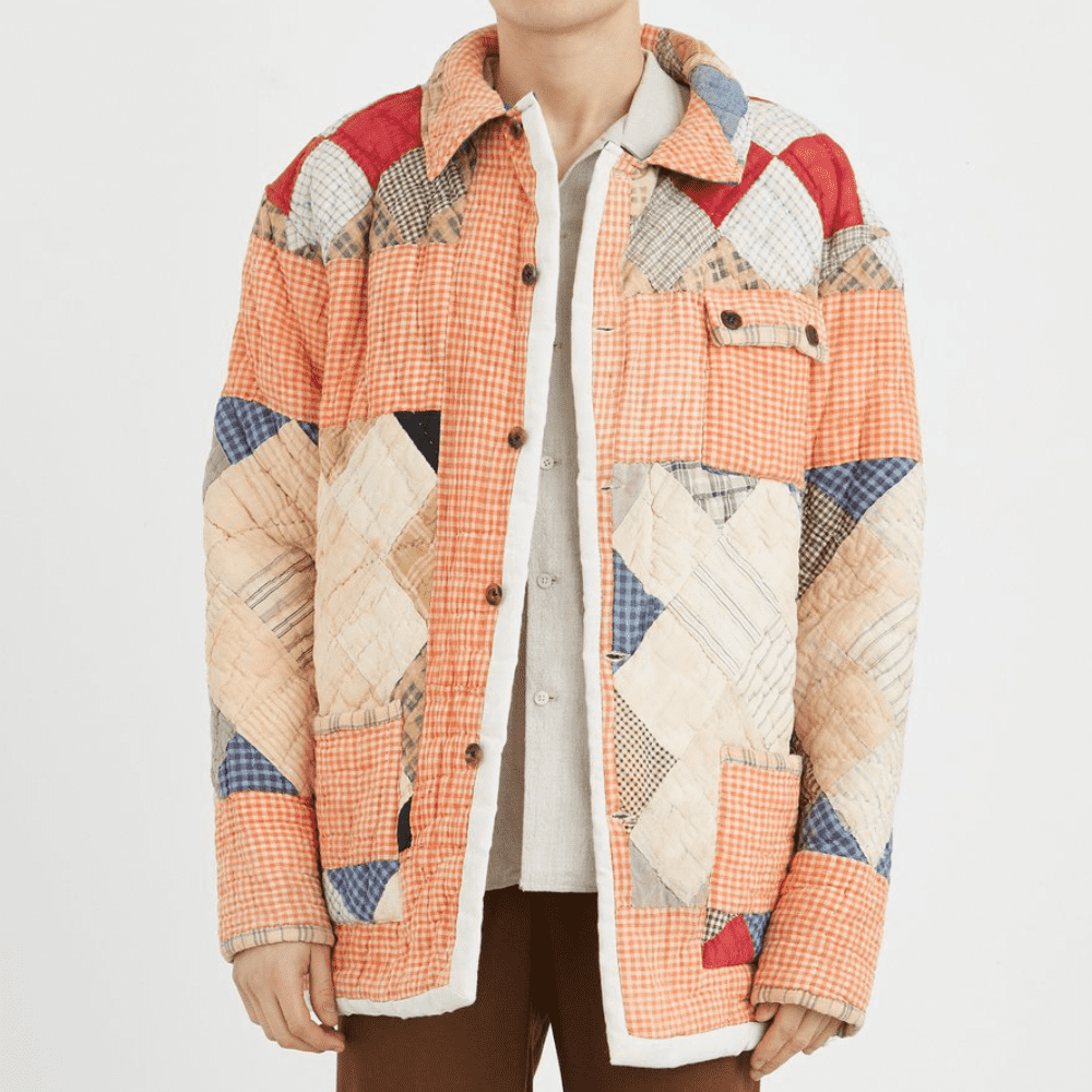 BODE ORANGE WORKWEAR JACKET - Bode is a newer brand and they've put out nothing but creative and beautiful garments in my opinion. Just like this jacket made of repurposed album-patterned quilts.SELLOUT RISK: LOW MED HIGHPurchase now at bodenewyork.com for $1,1554.00