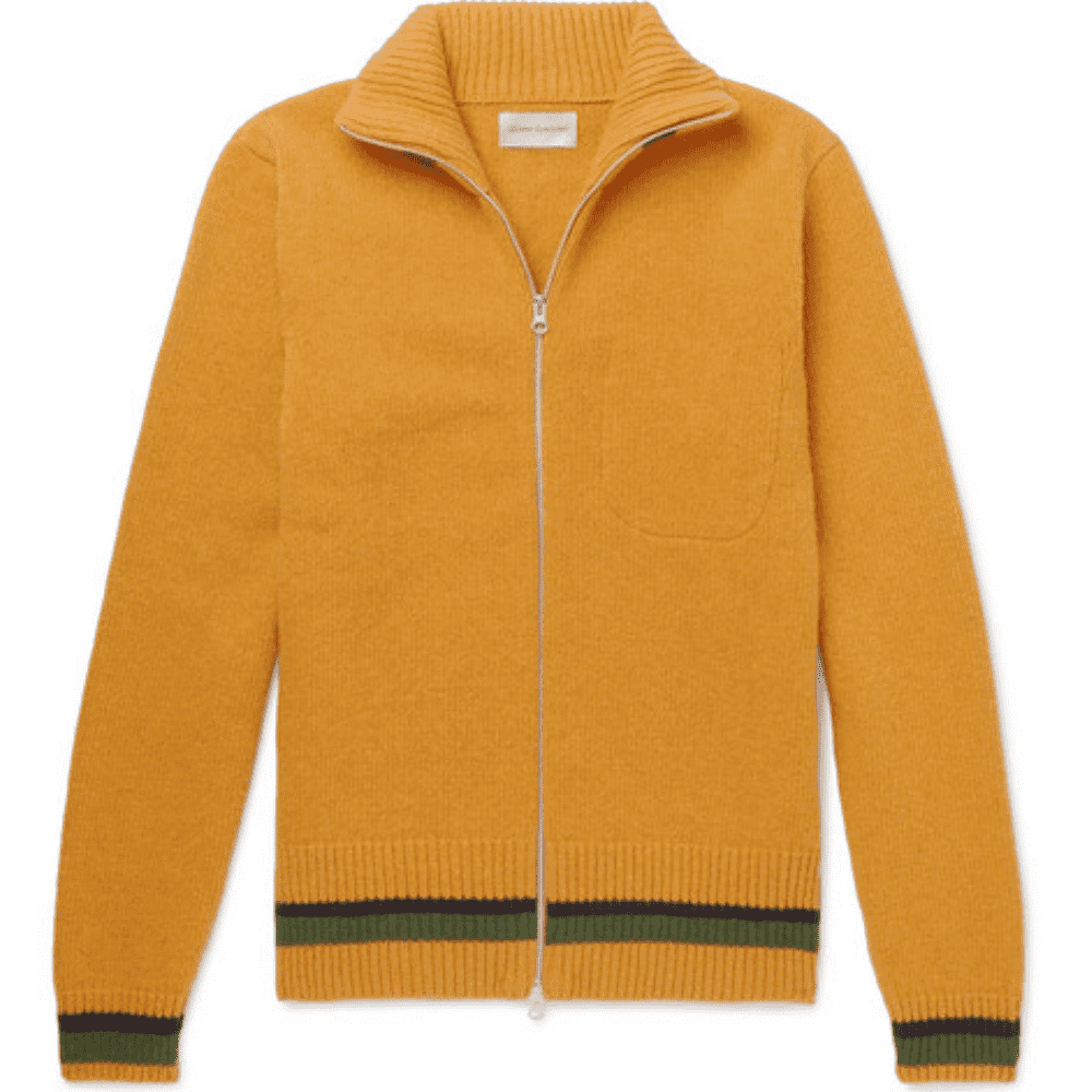 OLIVER SPENCER WOOL ZIP CARDIAGAN - I Love the details of this cardigan from the fantastic mustard wool to the two-way zipper.SELLOUT RISK: LOW MED HIGHPurchase now at mrporter.com for $400.00