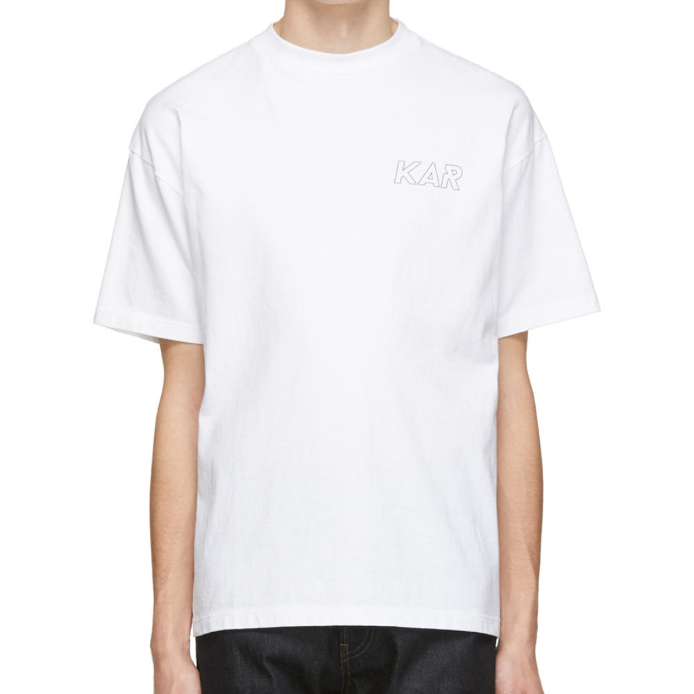 KAR WHITE LOGOT-SHIRT - A really nicely cut white t-shirt that is slightly over-sized with a more petite than usual mock neck.SELLOUT RISK: LOW MED HIGHPurchase now at ssense.com for $115.00