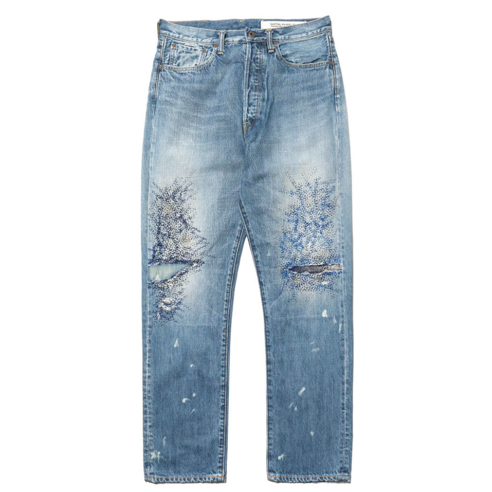KAPITAL 3 YEAR Fade JEANS - A very well distressed (non-tacky) pair of jeans is hard to find. Few companies do it well and Kapital is one of the few.SELLOUT RISK: LOW MED HIGHPurchase now at havenshop.ca for $478.00