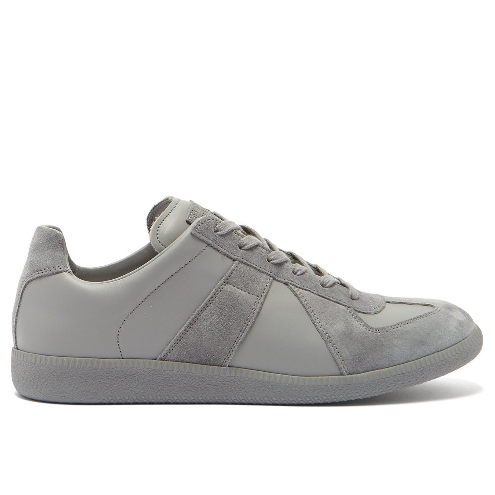 MAISON MARGIELA REPLICA SUEDE TRAINERS - The best designer sneaker you can buy and each season Margiela releases more and more colors. This grey suede paneled version is one of my favorites.SELLOUT RISK: LOW MED HIGHPurchase now at matchesfashion.com for $470.00