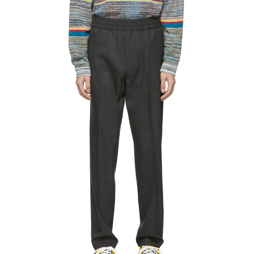 ACNE STUDIOS Grey WOOL RYder TROUSERS - I'm a fan of elastic waist trousers and when they look this good how can't you be as wellSELLOUT RISK: LOW MED HIGHPurchase now at endclothing.com for $310.00