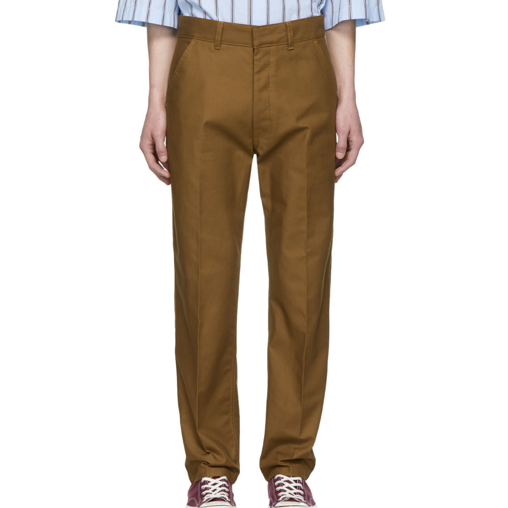 AMI BROWN STRAIGHT-FIT TROUSERS - A really nice versatile brown colored pair of chinos from AMI in a straight leg fit.SELLOUT RISK: LOW MED HIGHPurchase now at ssense.com for $260.00