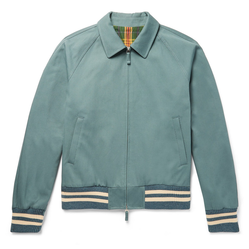 drakes cotton club jacket - Grab yourself a jacket that screams vintage summer style. In a beautiful teal color with cream accents.SELLOUT RISK: LOW MED HIGHPurchase now at mrporter.com for $815.00