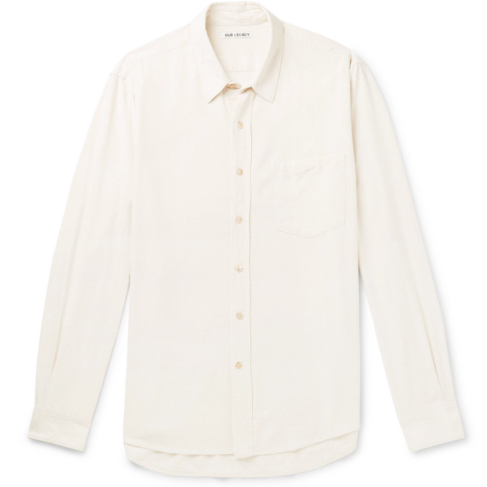 our legacy raw silk shirt - It's hard to beat Our Legacy's raw silk shirts for the price. The material is fantastic with a natural pill to it that adds some great texture. With the shirt being off-white it blends into your outfit more than a normal (bright) white shirt.SELLOUT RISK: LOW MED HIGHPurchase now at mrporter.com for $285.00