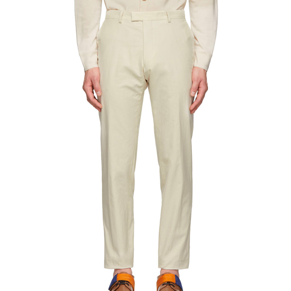 """Dries Van Noten Off-White Peeler Trousers - The only piece of clothing you should buy with the words """"Off-White"""" on the tag is when it's for the color.SELLOUT RISK: LOW MED HIGHPurchase now at ssense.com for $480.00"""